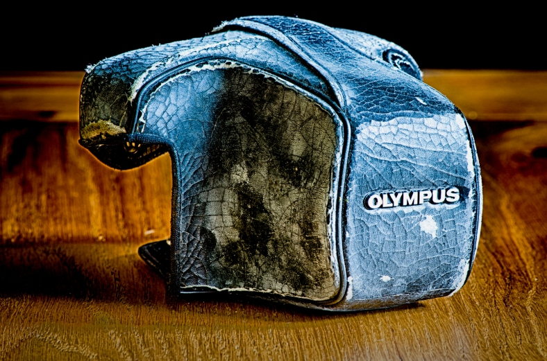 HDR image of an old case for an Olympus OM30 camera.