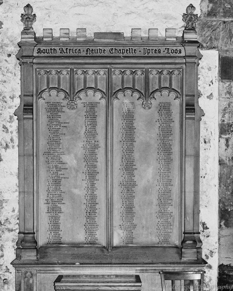 Great War memorial to the 1st Battalion, Monmouthshire Regiment. Situated in St Woolos Cathedral, Newport.,