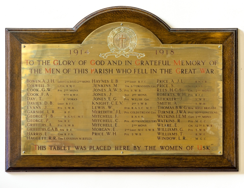 Brass plaque Great War memorial in Saint Mary's Priory Church, Usk.